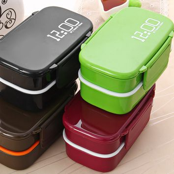 Cute Eco-friendly Japan Style Double Tier Dinnerware Set PP Cute Meal Box Tableware Microwave Oven Bento Lunch Container Kitchen