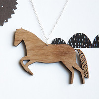 Horse Necklace. Mustang Walnut Wood Pendant from Joanna Rutter