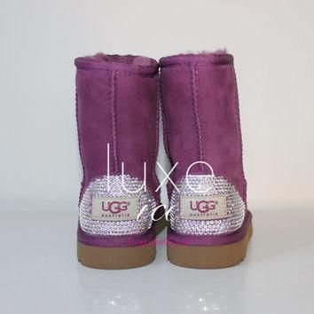Kids Classic Ugg Australia Boots made w Swarovski Crystal Elements Size 10, 12 Sugar P
