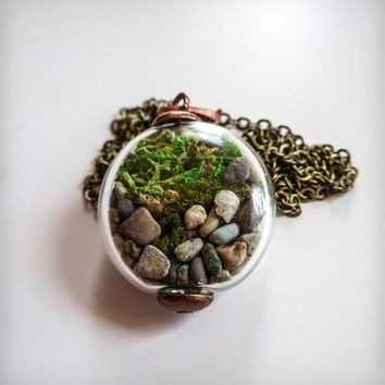 Woodland Moss Terrarium Orb Necklace