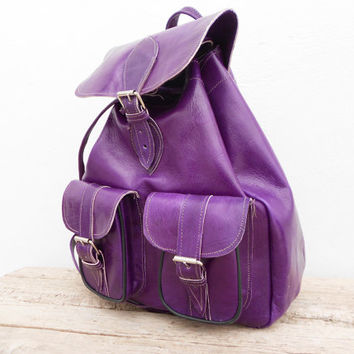 Purple Mauve Violet Leather backpack satchel bag for Girls, Handmade Soft Leather School College Travel Picnic Weekend bag