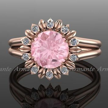 Sunflower Ring, Rose Gold Diamond And Morganite Wedding Ring