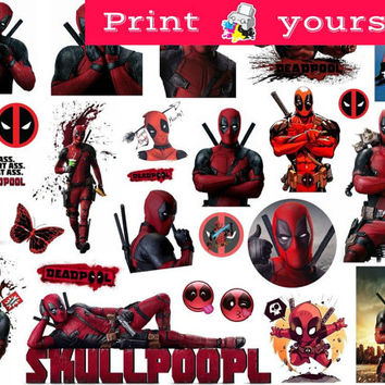 Set #330. Deadpool Mockup printable Tumblr Stickers, Stickers, Sets. Decals. Printable (downloadable) file ONLY. Nothing will be shipped.