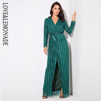 Love&Lemonade Sexy  Stripes Cross V Collar Body Maxi Dresses Green/Silver/Gold/Black/Red LM0266