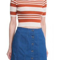 Short Sleeve Ribbed Knit Striped Crop Top - Cream/Marsala