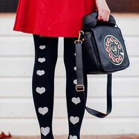 Love Story Line Of Hearts Print Tights Black - Zohara