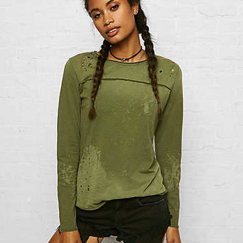 Don't Ask Why Distressed Long-Sleeve T-Shirt, Olive