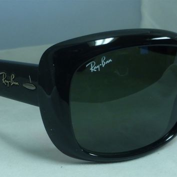 Ray-Ban 4101 Jackie Sunglasses Round Black Frame Eyewear Green Lens Glasses