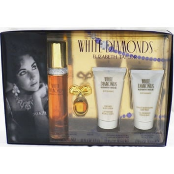 WHITE DIAMONDS by Elizabeth Taylor EDT SPRAY 1.7 OZ & BODY LOTION 1.7 OZ & BODY WASH 1.7 OZ & PARFUM .12 OZ MINI