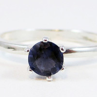 Iolite Solitaire Round Cut Sterling Silver Ring
