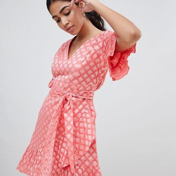 Glamorous Mini Dress With Ruffle Hem And Tie Waist In Jacquard at asos.com