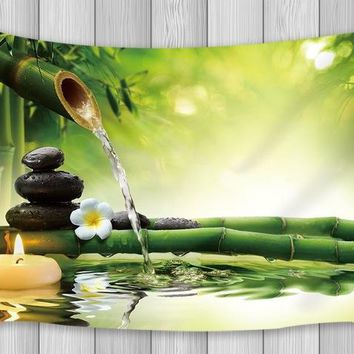 Asian Decor Tapestry Black Stones Bamboo Waters Zen Gardens Japanese Design Wall Art Hanging Dorm Wall Blankets