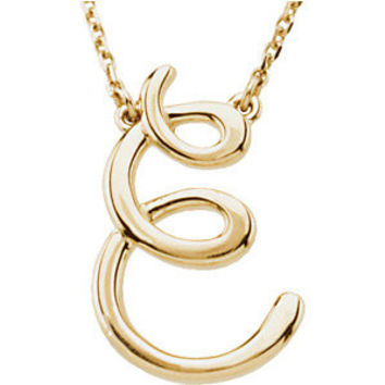 """14K Yellow """"A"""" Script Initial 16"""" Necklace"""