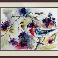 """Bird in Elder Berries Watercolor by Ginette"" by Ginette Callaway"