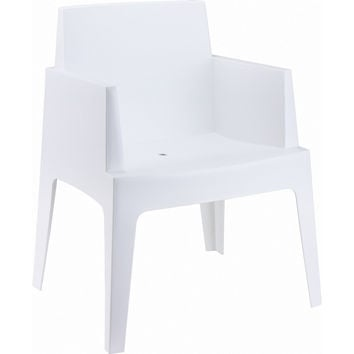 Box Resin Outdoor Dining Arm Chair White (Set of 4)