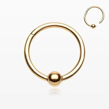 Golden Captive Bead Ring Style Seamless Clicker Ring