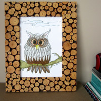 ON SALE Owl Art, Owl illustration, Owl Drawing, Bird Art, Owl on Branch, Nature Art, Home Decor, Bird Decor, Owl decor, Nursery Decor, Gift