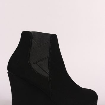 Crisscross Chelsea Wedge Booties