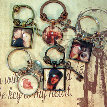 2 Photo Key Rings Custom with Charm Personalized for Couples Grandparents Pets Best Friends KeyChain Gift