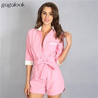 Gagalook 2016 100% Cotton Short Jumpsuit Shirt Rompers Womens Jumpsuit Overalls for Women Playsuit Combinaison Femme D0662