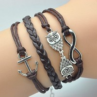 Plating Retro Silver Cute Owl & Infinity Wish Anchor Bracelet Brown Rope Braided Personalized Bracelet Friendship Gift 1189r:Amazon:Jewelry