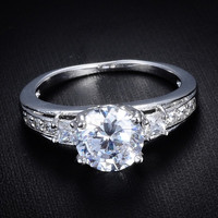 18k White Gold Filled Vintage Style White Sapphire Engagement Ring Size 7 8 9 = 1932454596
