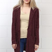 Heathered Long Sleeve Two Pocket Cardigan {Burgundy}