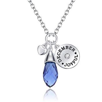 """AUGUAU """"Love of Crystal"""" Created 12 Months Birthstone Necklace Water Drop Pendant Best Gifts For Christmas"""