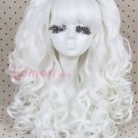 60cm Lolita Long White Girls Clip On/In Synthetic Ponytails Cosplay Wig RW137G