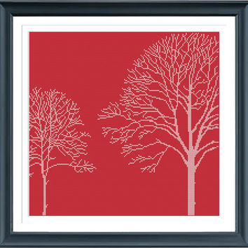 Tree Silhouette 8JM5 Cross Stitch Pattern, Instant Download, Free shipping, Cross Stitch PDF, Cross Stitch Tree