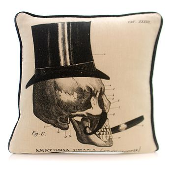 Home Decor ANATOMIA UMANA PILLOW Fabric Halloween Skull Z5555 Cigar