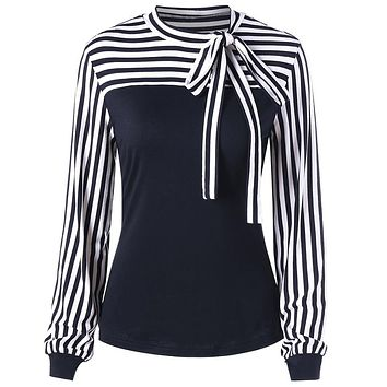 Round Neck Bowknot Striped Long Sleeve Women Top 2135