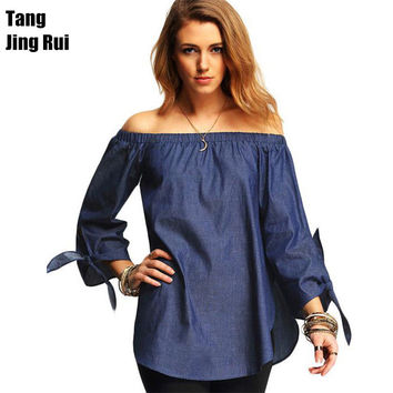 New Plus Size Casual Women's Blouses Slash Neck Solid Off The Shoulder Loose Blouse Shirts Summer Tops 4 Color