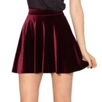 Women High Velvet Pleted Skirts For Women Velvet Skirt