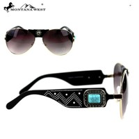 Montana West Turquoise Concho Collection Aviator Sunglasses SGS-3706 BK-GD
