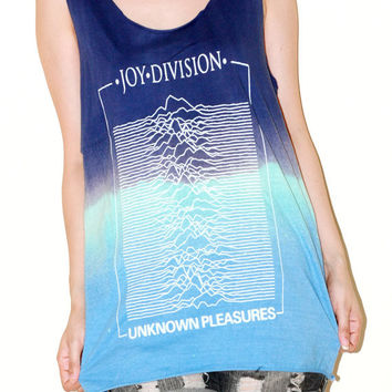 Joy Division Closer Bleached Navy Blue Tie Dye Women Top Woman Music Rock Tee Tank Top Singlet Sleeveless Indie Art Punk Rock T-Shirt Size M