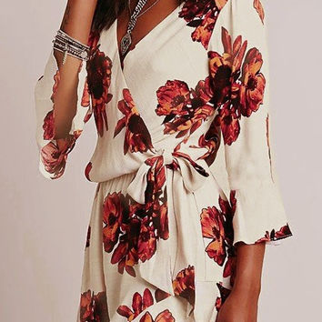 White Bohemian Floral Printed Long Sleeve Romper