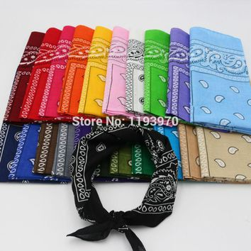 Classical Paisley Cotton Bandanas Red Blue Men Pocket Square Black Ladies Headband Headscarf Handkerchief SUJASANMY TJ9002