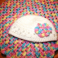 Baby Blanket and Hat Gift Set - Baby Girl Hat size 0-3 Month - Granny Square Multi-Colored Baby Blanket