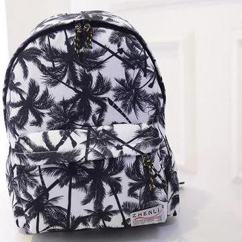 Coconut Hawaii Beach Wind Student Bag Canvas Backpack