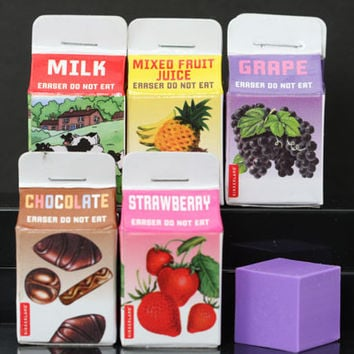 Five Scented Milk And Juice Erasers