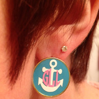 Monogrammed Anchor Earrings - 1 Inch Diameter Pierced Ear Post Earrings - Lots of Color Choices
