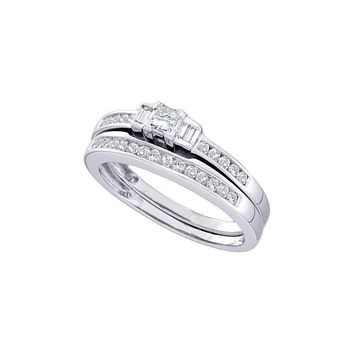 14kt White Gold Women's Princess Diamond 3-Stone Bridal Wedding Engagement Ring Band Set 3/8 Cttw - FREE Shipping (US/CAN)