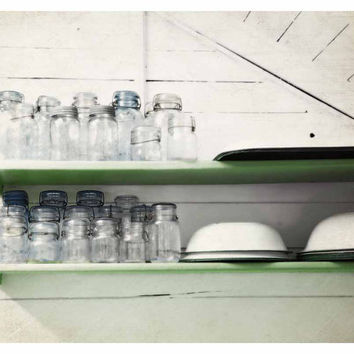 Vintage Blue Glass Jars in a White and Apple Green Kitchen - Fine Art Photo