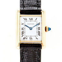 18K Gold Cartier Tank Watch From Doyle & Doyle by Doyle & Doyle - Moda Operandi