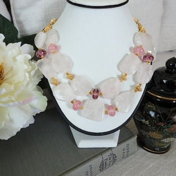 bold chunky beaded statement necklace, rose quartz  24k gold vermeil & lampwork bead, seed bead jewelry, fine gemstone jewelry gold necklace