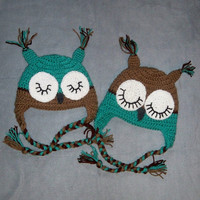 Two Crochet Owl Hats Twins Infant Baby Newborn 0 3m 6m Halloween Costumes Boy Girl Halloween Costume Christmas Gift