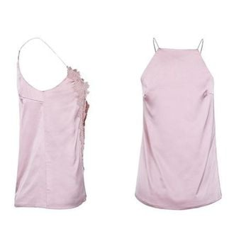 Casual Satin Adjustable Strap Lace Up Reversible Cami Tank Top