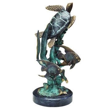 SPI Single Sea Turtle with Fish Marble and Brass Sculpture