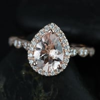 Sydney 14kt Rose Gold Pear Morganite and Diamonds Halo and Leaves WITH Milgrain Engagement Ring (Other metals and stone options available)